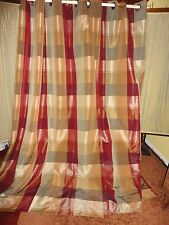 Home Plaid Green Burgundy Warm Gold Cinnamon (Pair) Grommet Window Panels 52X82