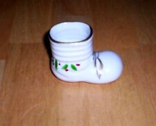 VINTAGE SMALL WHITE PORCELAIN CHRISTMAS BOOT--GOLD, GREEN & RED  -- HAND PAINTED