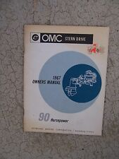 1967 OMC Stern Drive Boat Motor Engine 90 Horsepower HP Owner Manual Operation M