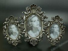 Rokoko Barock Bilderrahmen 3er Fotorahmen 3 Bilder Fotos Oval Holz silber Antik