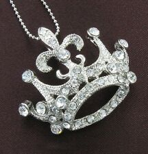 Princess Tiara Crown Clear Rhinestone Necklace Pendant