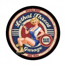 Lethal Threat Pin Up Girl Wrench Service Metal Sign Man Cave Garage Shop LETH130