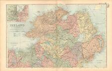 1893 ANTIQUE MAP - IRELAND NORTH, BELFAST, COLERAINE, SLIGO
