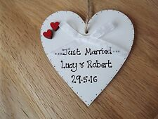 *Just married* white heart sign plaque chic Wedding Present Keepsake decoration