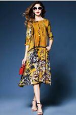 Vestido de verano para Mujer impreso imitación de seda estilo chino Cuello Redondo Midi Vintage