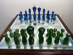 Complete Set of Green-Blue Resin Chess Pieces with 3 1/2 in King (no chessboard)