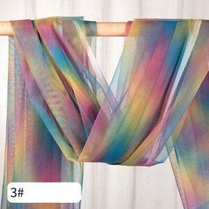2M Rainbow Gradient Color Mesh Fabric Tulle Tutu Skirt Dress Background Adorn