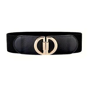 Women Genuine Leather Wide Stretch Elastic Cinch High Waist Belt Waistband Black