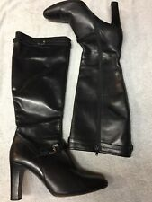J. Crew Womens Black Leather Italy Zip Side Heels Knee Boots Size Sz 9.5 B