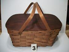Large Wicker Basket w/Handles &  Solid Wood Lid - Picnic Craft Garden #3
