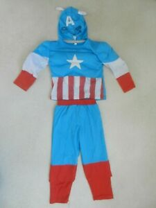 Captain America Costume Fancy Dress Up Trousers Top Mask Toddler Age 2-3 80cm