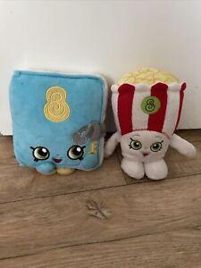 "Shopkins Soft Cuddly Toy Bundle Figures Plush Secret Sally + Poppy Popcorn 7"""