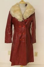 WOMEN ZCMI VTG RED LEATHER DOUBLE BREASTED FAUX FUR TRIM TRENCH COAT/JACKET SZ L