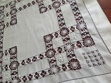 VINTAGE HAND EMBROIDERED DRAWN WORK WHITE LINEN TABLE CENTRE CLOTH