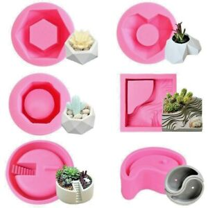 Flower pot Concrete Silicone Mold Fleshy Plants DIY Crafts Cement Clay Mould dif