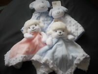 LUXURY BABY BOY/GIRL SHEEP & PUPPY COMFORT BLANKETS WITH  BOBBLE PATTERN