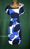 New PHASE EIGHT 8 Blue White ESME Stretch Jersey Holiday Party Dress -LAST Uk 10