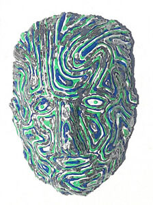 Mask Wall Art  by Anthony Saldivar One of a kind Silver Blue Green Emotional