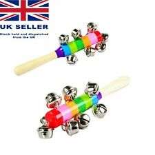 More details for wooden hand bell stick kids musical rattle toy christmas gift stocking filler uk