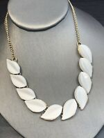 """Bohemian White Lucite Beaded  Leaf beaded bib statement necklace Gold Tone 16"""""""