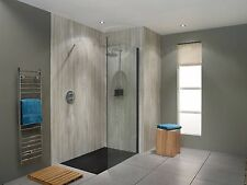 Frameless Shower 10mm Panel 1100mm x 2000mm with Matte Black Wall Channel