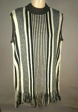 EUC $37 Do & Be Top Shirt Tunic Sleeveless Sweater Striped White Gray Fringe  S