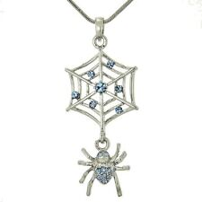 "SPIDER W Swarovski Crystal Cobweb Web Charm Blue Luck Necklace 18"" Chain Gift"