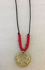 24kt Gold Layered Buffalo Nickel Native American Style Necklace/red