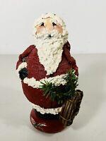 1993 Plaster Wood Santa Claus Figure Hand Painted Decorated Folk Art Pauley