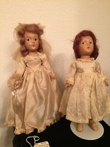 """Lot 1950s? Dream World Dolls Composition 10"""" Bride Doll and Flower Girl?, Stands"""