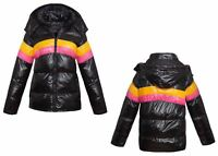 Womens Ladies Quilted Hooded Puffer Colour Block Shine Black Warm Jacket Coat