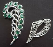 Two Brooches: Large Feather Green Stones, Filigree Great Condition