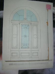 3 architektonische Zeichnungen um 1870.