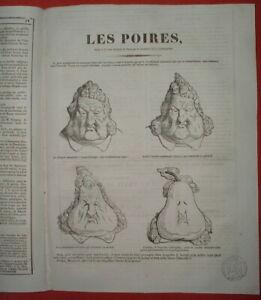 SUP 66 CARICATURE 1835 PROCES JOURNAL LE CHARIVARI POIRES LOUIS-PHILIPPE