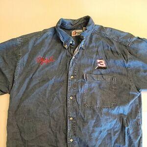 Competitors View Dale Earnhardt Denim Shirt Mens Size XL Short Sleeve NASCAR