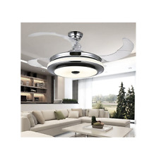 """42"""" Retractable Ceiling Fan Lamp w/ Light Remote Control Dimmable LED Chandelier"""