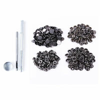 15mm Gunmetal Large Heavy Duty Press Studs And Fixing Kit Hollow Hole Punch Tool