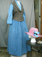 Victorian Dress Women's Edwardian Costume Civil War Reenactment w Hat & Gloves