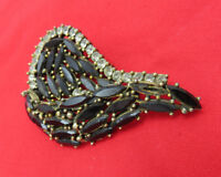 Vintage Brooch Pin Clear Black Crystal Rhinestone Gold Open Jewelry 264k