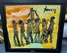 Large Original Purvis Young Painting On Linen  Colorful Frame Unique Outsider Ca