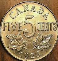 1923 CANADA 5 CENTS COIN - Excellent example !