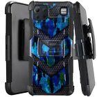 Holster Case For LG K92 5G (2020) Hybrid Kickstand Phone Cover - BLUE CAMO BADGE