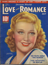 LOVE & ROMANCE • JULY 1937 • GINGER ROGERS • Cover by TCHETCHET • Lot of ads