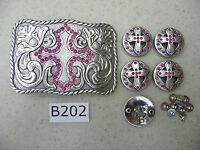 B202 New Pink Rhinestone Cross Engraved Western Cowgirl Belt Buckle & 5 Conchos