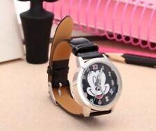 Kids Girls Mickey Mouse Black Wrist Watch Analogue Leather Strap UK Slim Dial BK