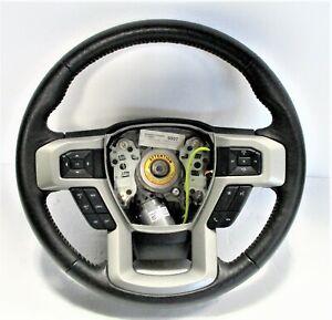OEM 2017-2021 Ford F-250 Black Leather White Stitch Steering Wheel LC3Z-3600-CB