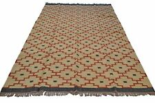 Large Kilim Rug Beige Red Diamonds Wool Jute Indien 180x270cm 6x9' Handmade New