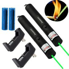 2PC 50Miles Visible Beam Green Laser Pointer Pen 532nm Lazer Pen+Battery+Charger