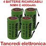 4 Batteria NiMh C mezza torcia 4000mAh 4Ah lamelle linguette tabs battery 3,5Ah