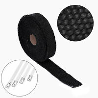 Black Motorcycle Exhaust Header Pipe Heat Wrap Tape Engine Fuel Replacement Set